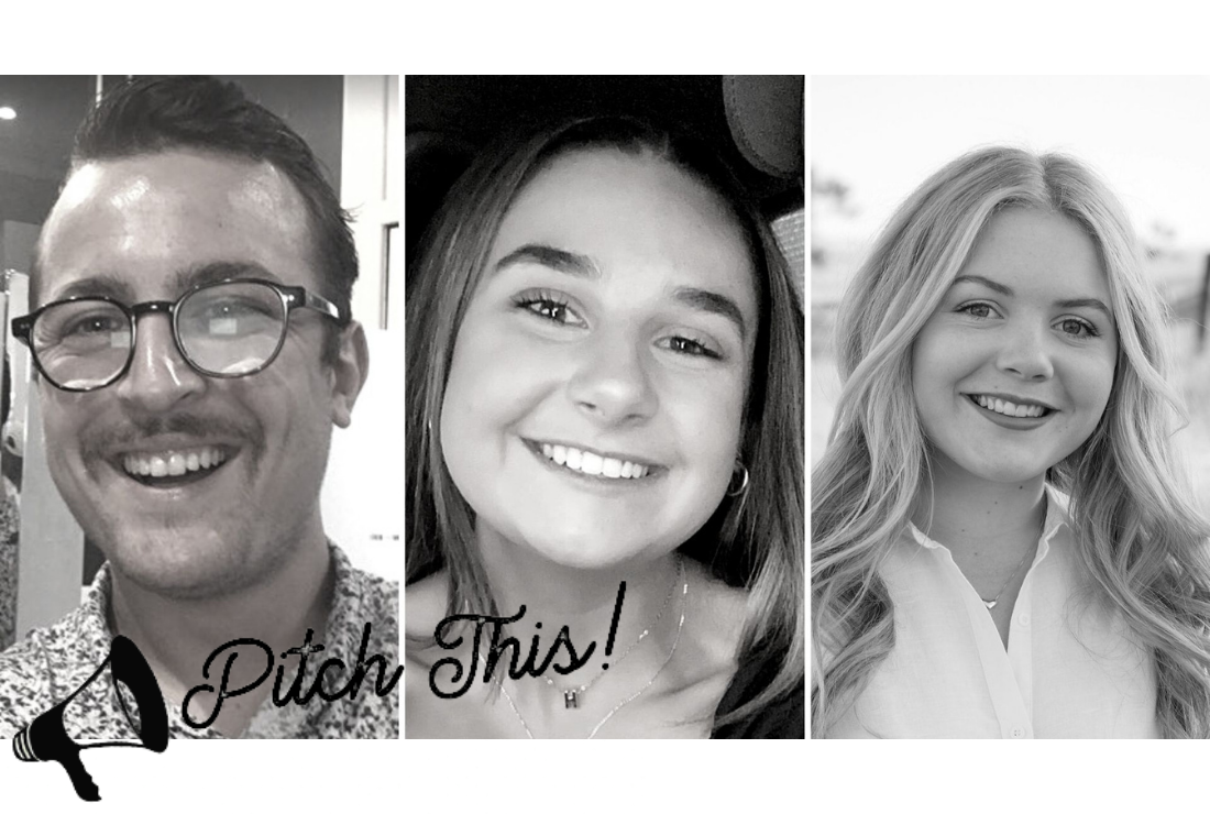 Three separate images of students who won PRIA's pitch this competition