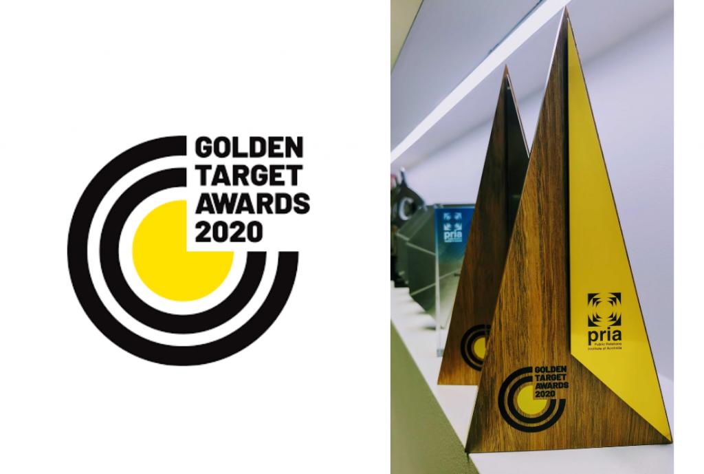 A PRIA Golden target Award logo next to two PRIA awards