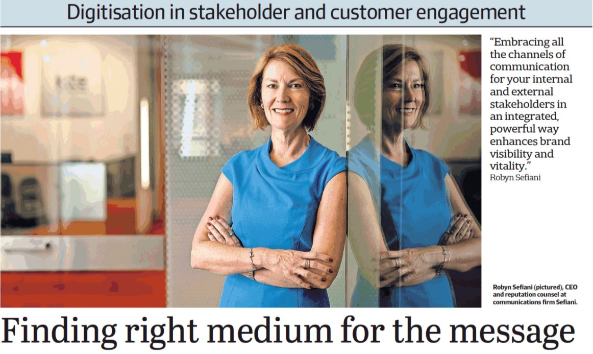 An image of Robyn Sefiani appearing alongside an interview in the AFR.